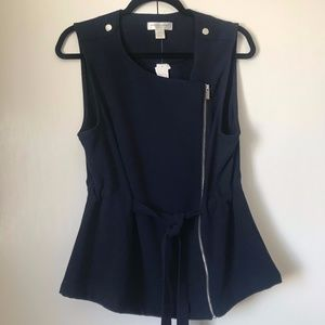 NWT Christopher and Banks Navy Tie Waist Vest